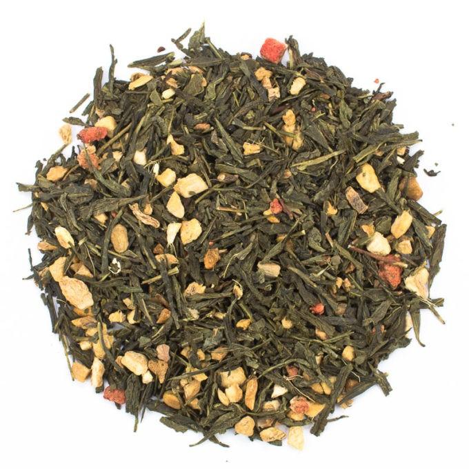 37641 Ingwer Erdbeere auf Gruentee lose 680x680 - Ronnefeldt, Grüner Tee aromatisiert